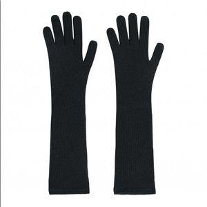 Eric Bompard black cashmere long gloves